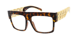 9972CLR Women's Plastic Large Chunky Flat Top Frame w/ Cuban Link Chain Temples and Clear Lens