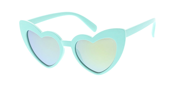 K6631HRT/RV Kids' Plastic Girls Heart Frame w/ Color Mirror Lens