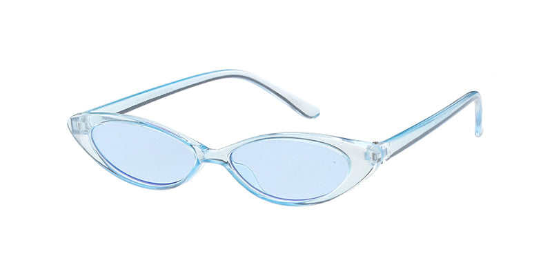 K6634CRY/COL Kids' Plastic Small Thin Oval Cat Eye Monochromatic Crystal Color Frame w/ Color Lens