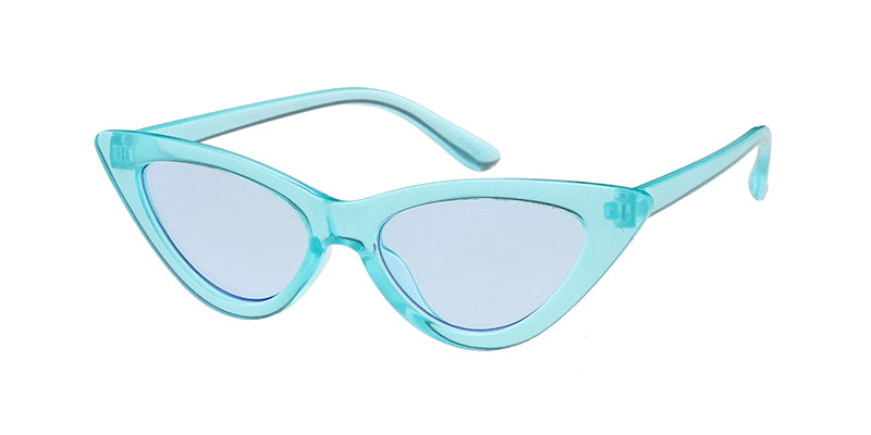 K6636CRY/COL Kids' Plastic Cat Eye Monochromatic Crystal Color Frame w/ Color Lens