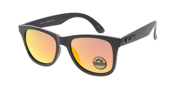 KU-POL006RV KUSH Plastic Medium WF Leather Grain Texturized Frame w/ Polarized Color Mirror Lens