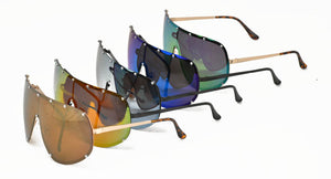 3860POL/RV Women's Oversized Metal Studded Rimless Shield w/ Color Mirror Lens