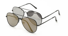 4272BLK/MIR Unisex Metal Aviator Black Frame w/ Silver or Gold Mirror Lens