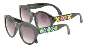 6557 Women's Plastic Round Frame w/ Southwestern Beaded Accent