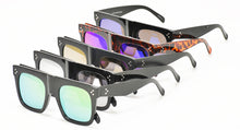6760RV Women's Plastic Large Chunky Square Flat Top w/ Color Mirror Lens