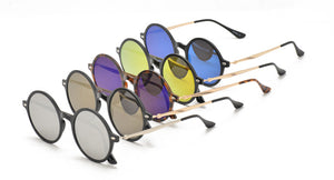 6883RV Unisex Plastic Medium Round Thin Frame w/ Color Mirror Lens