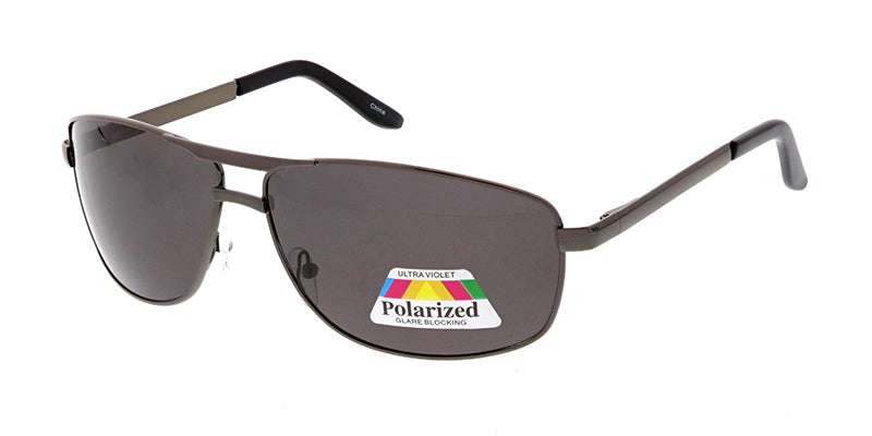 POLM3008 Men's Casual Metal Square Aviator w/ Polarized Lens