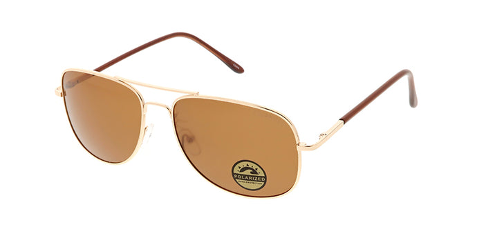 POLM3012 Unisex Metal Square Aviator w/ Polarized Lens