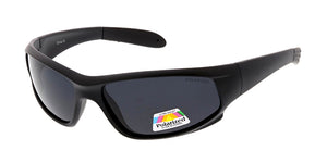 SPPOLS2003 Men's Plastic Sport Wrap Matte Black Frame w/ Polarized Lens (Single Color)