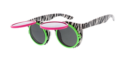 PT617 Novelty Double Flip Up Zebra Print Neon Frame