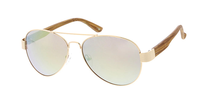 SPJ3483PNK/WD Unisex Metal Standard Aviator Gold Frame w/ Woodgrain Print Temples and Pink Mirror Lens (Single Color)