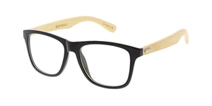 WD004/CLR Unisex Plastic Medium Square Frame w/ Bamboo Temples and Clear Lens