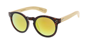 WD006/RV Unisex Plastic Large Round Hipster Frame w/ Bamboo Temples and Color Mirror Lens