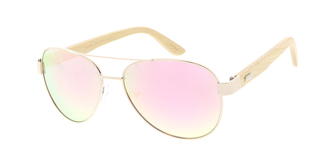WD014/RV Unisex Metal Standard Aviator Frame w/ Bamboo Temples and Color Mirror Lens