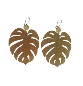 Brass Monstera Earrings