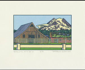 Old Barns Lettepress Print