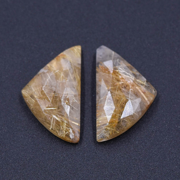 Golden Rutilated Quartz Pair- A