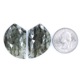 Rutilated Quartz Rosecut Pair- A