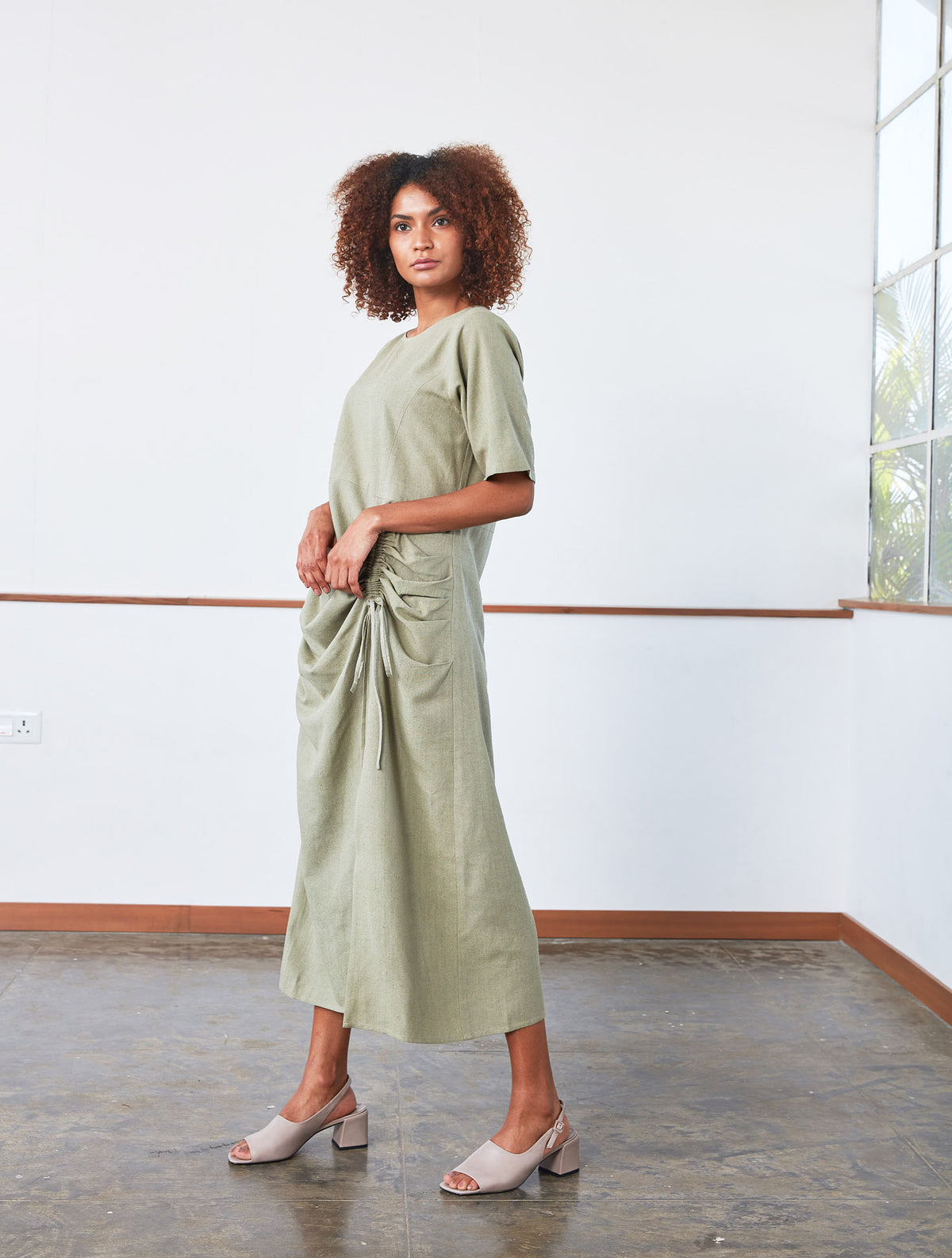 Drawstring Dress | Jade Green