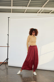 Wide Leg Pants | Wine