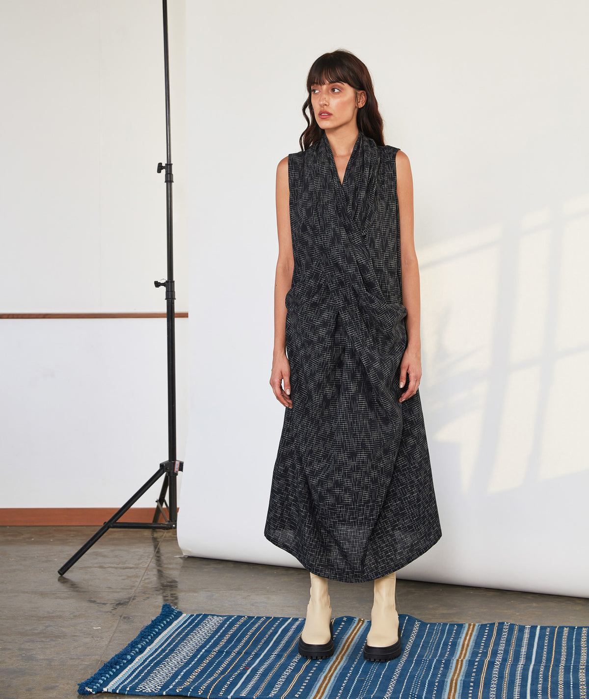 Criss Cross Dress | Black Ikat