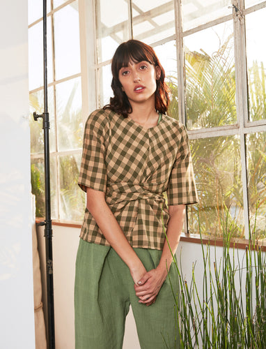 Wrap Top | Emerald x Ochre Chex