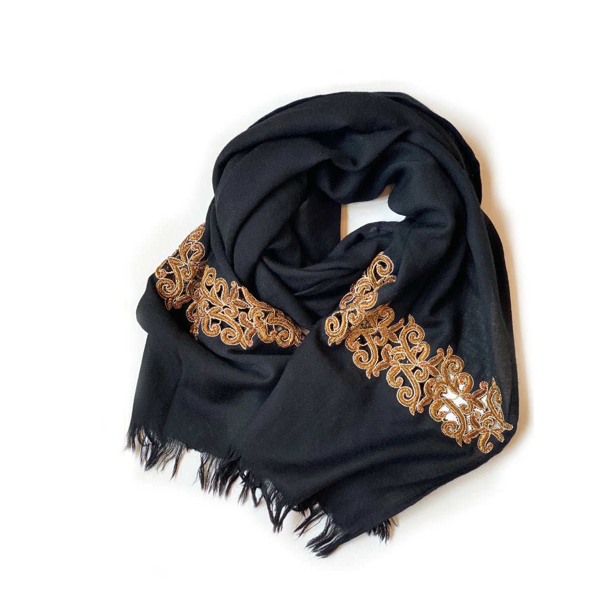 Black + Gold Embroidered Scarf