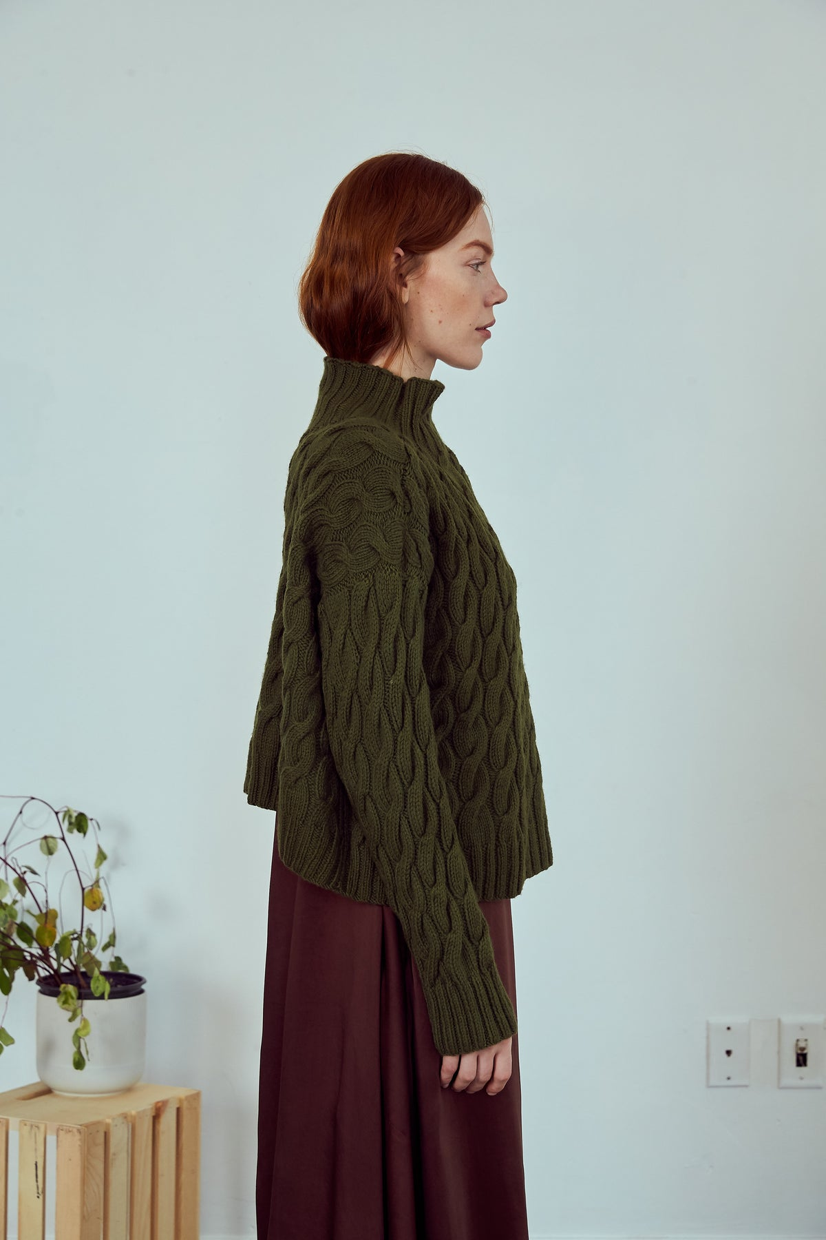 Cable knit Sweater | Olive