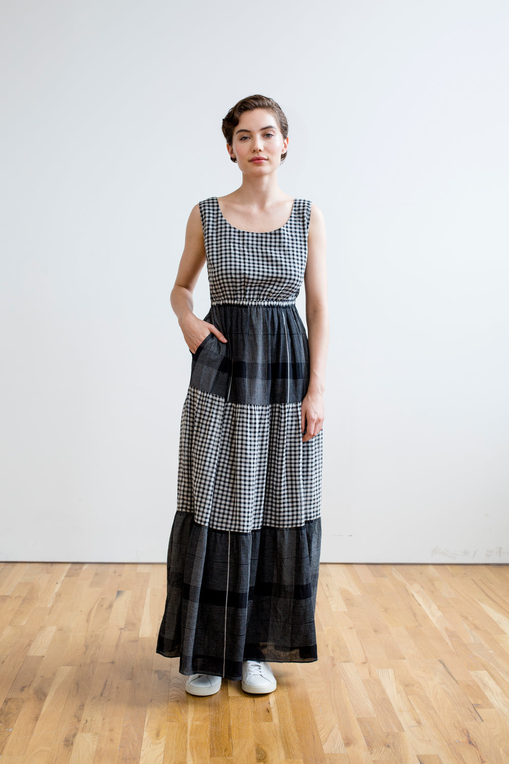 Gema Tier Dress | Black & White Chex