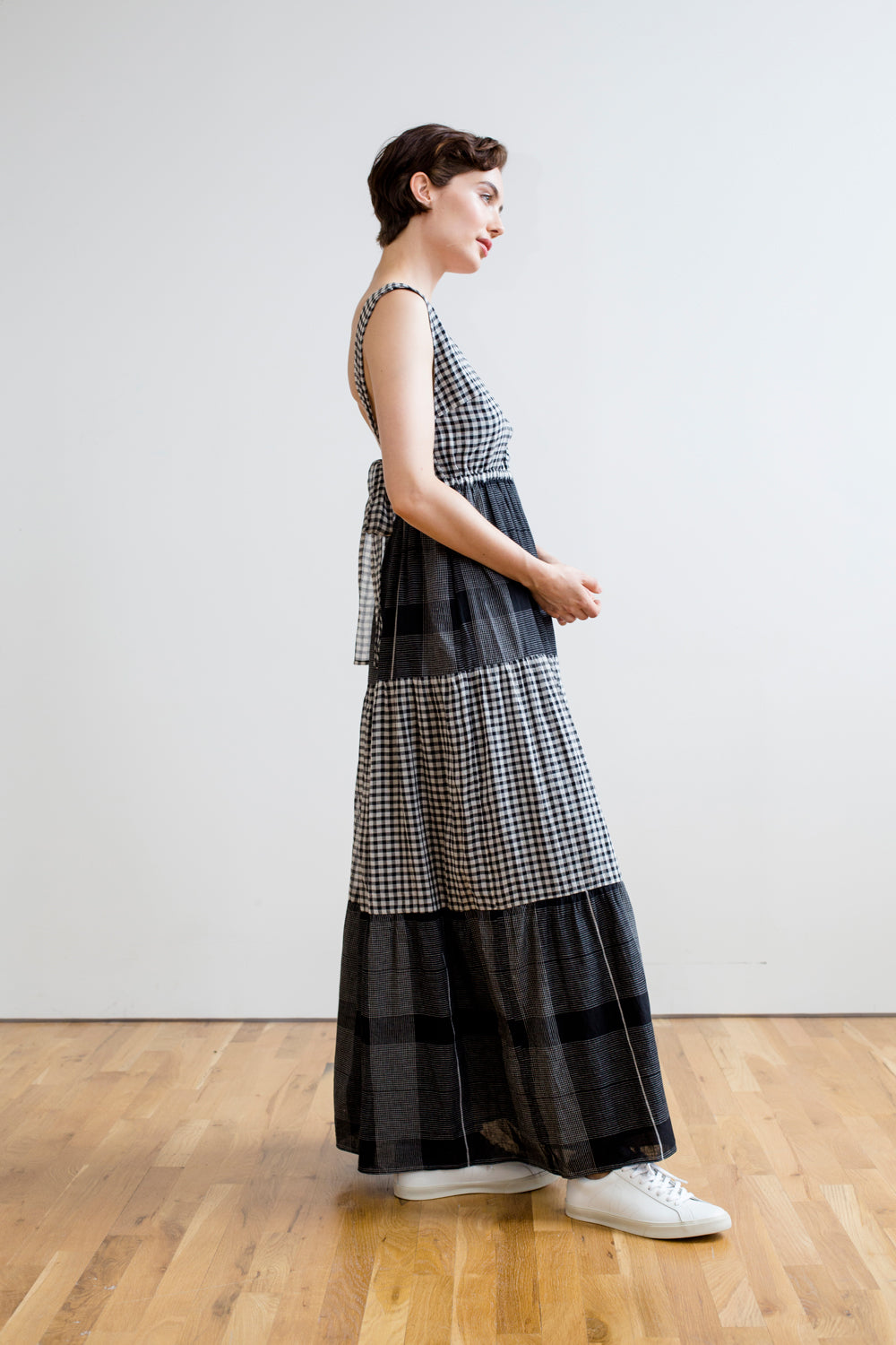 Gema Tier Dress | Black & White Chex: Pre- Order