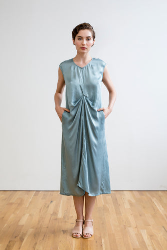 blue silk dress