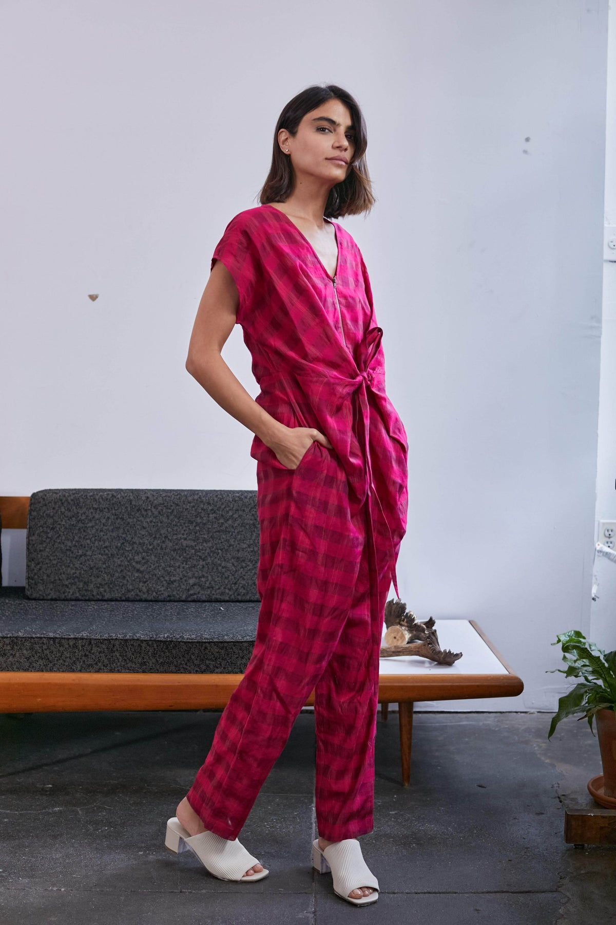 Venus Wrap Jumper | Hot Pink Chex