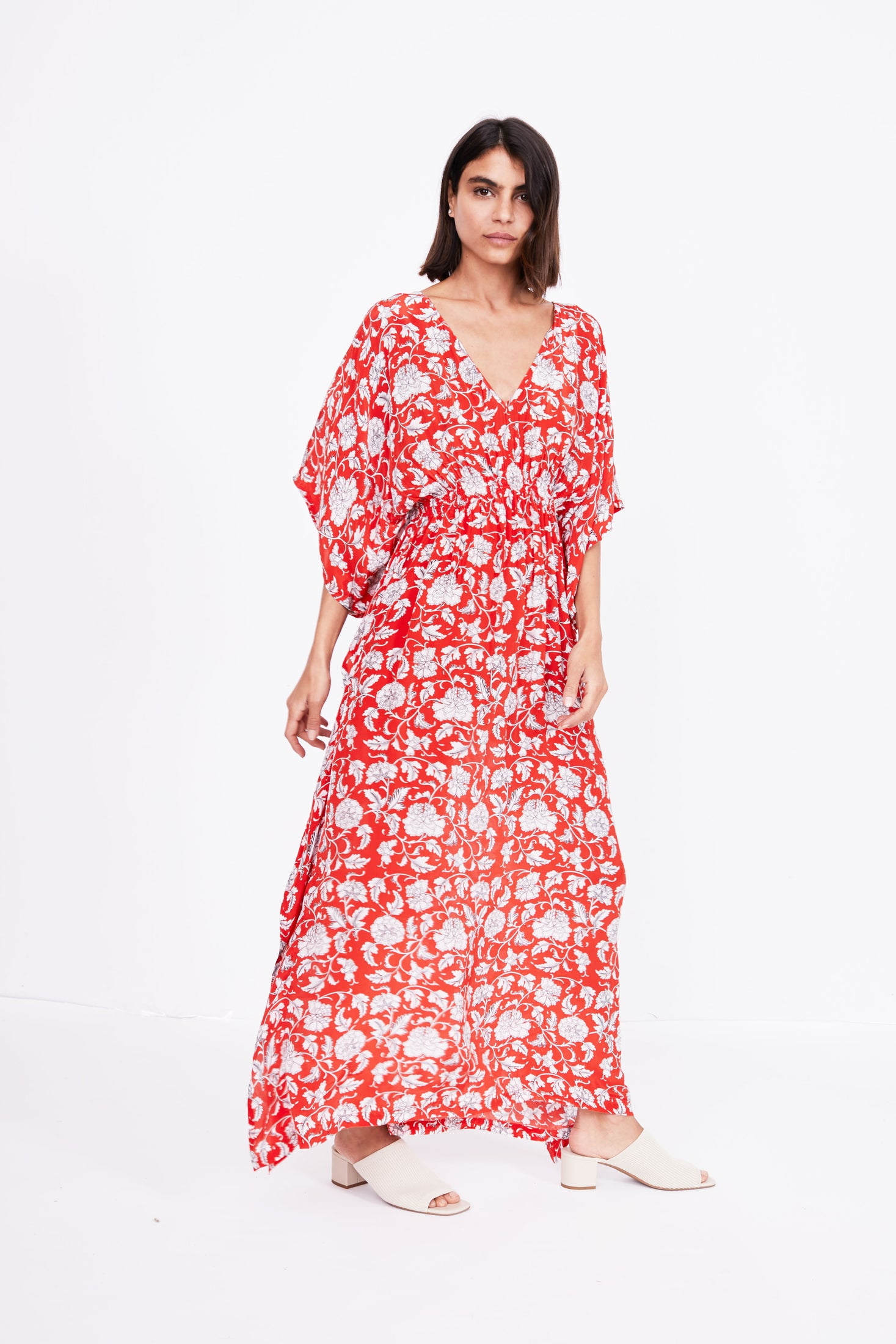Marie Cinch Kaftan | Red Floral Print