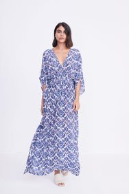 Marie Cinch Kaftan | Blue Lotus Print