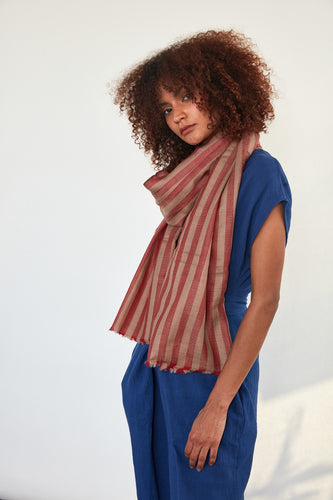 Bold Red Stripe Scarf