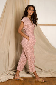 Venus Wrap Jumper in Rose Chex
