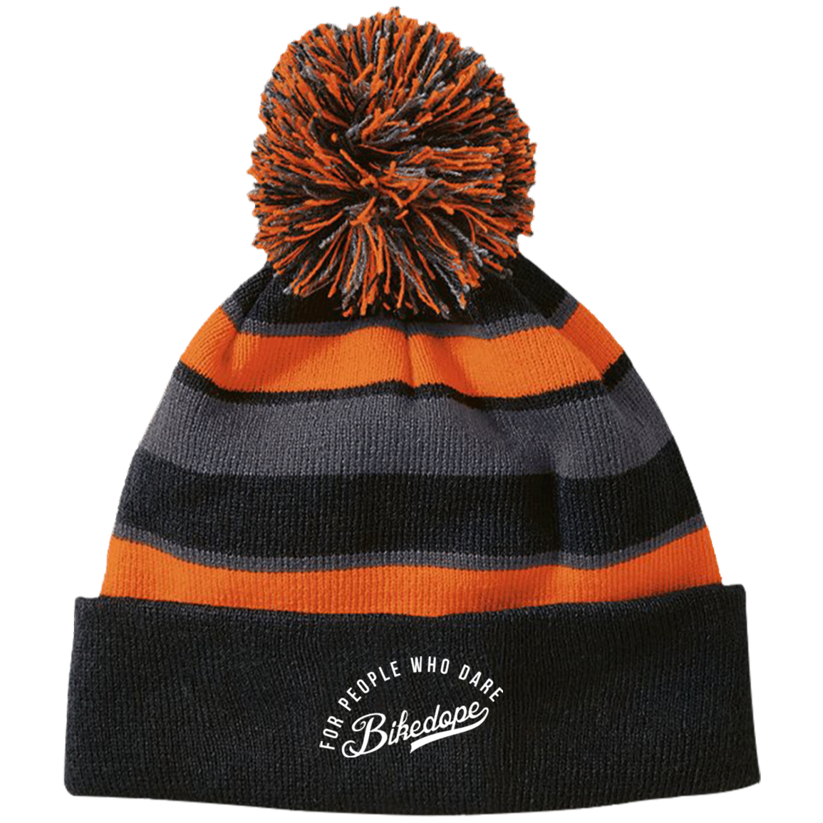 Beanie with PomPom (White Lettering)