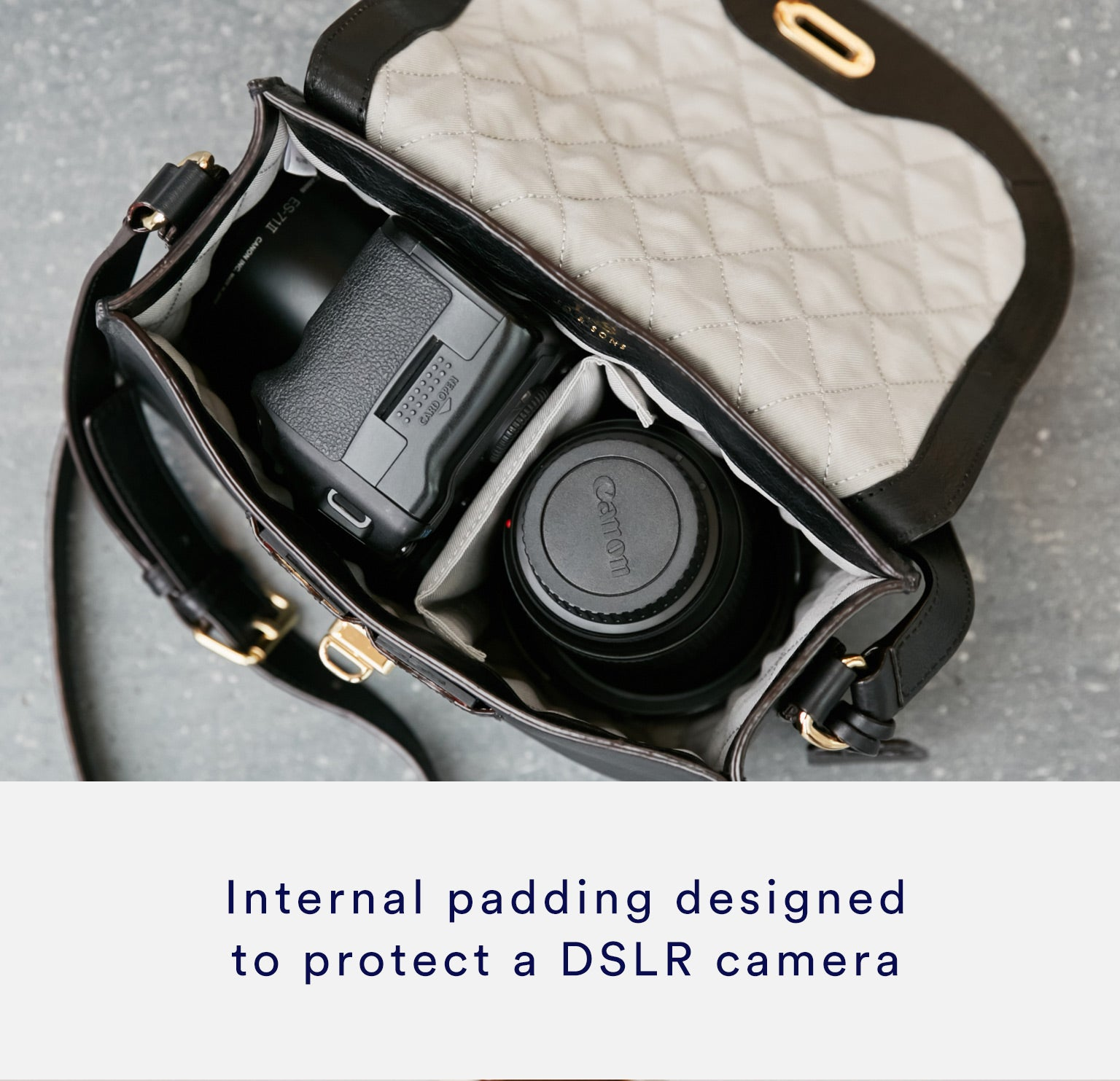 The Claremont camera bag, made with internal padding designed to protect a DSLR camera