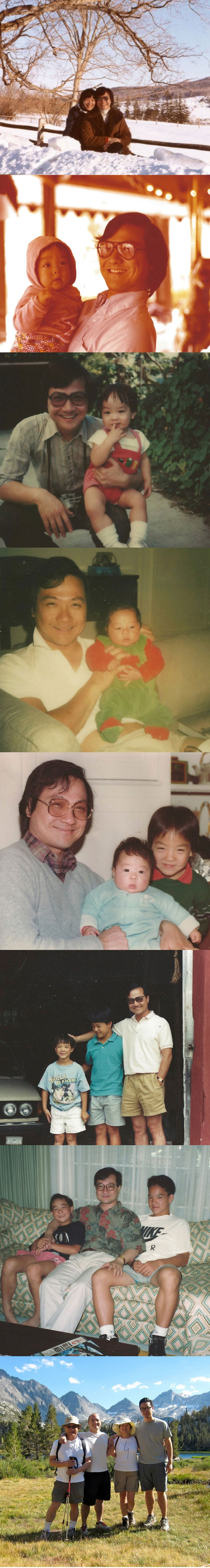 photo collage of Fred with family