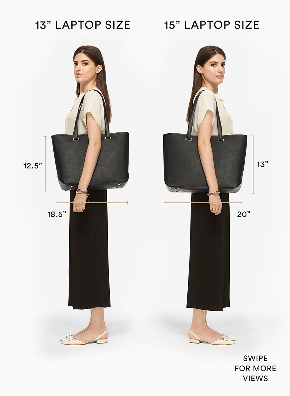 Compare the Seville laptop tote size, 13