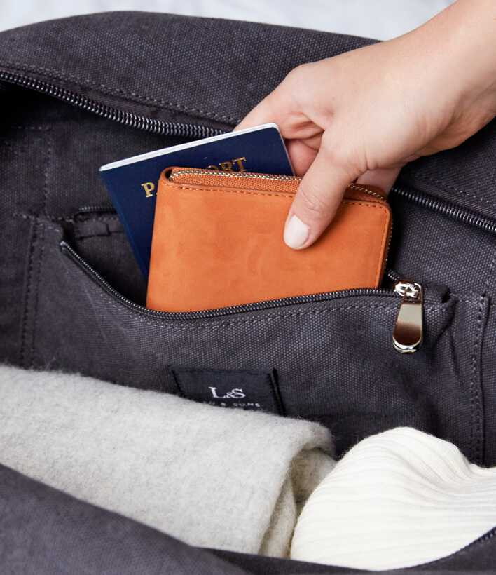 passport and wallet packed into zipper pocket