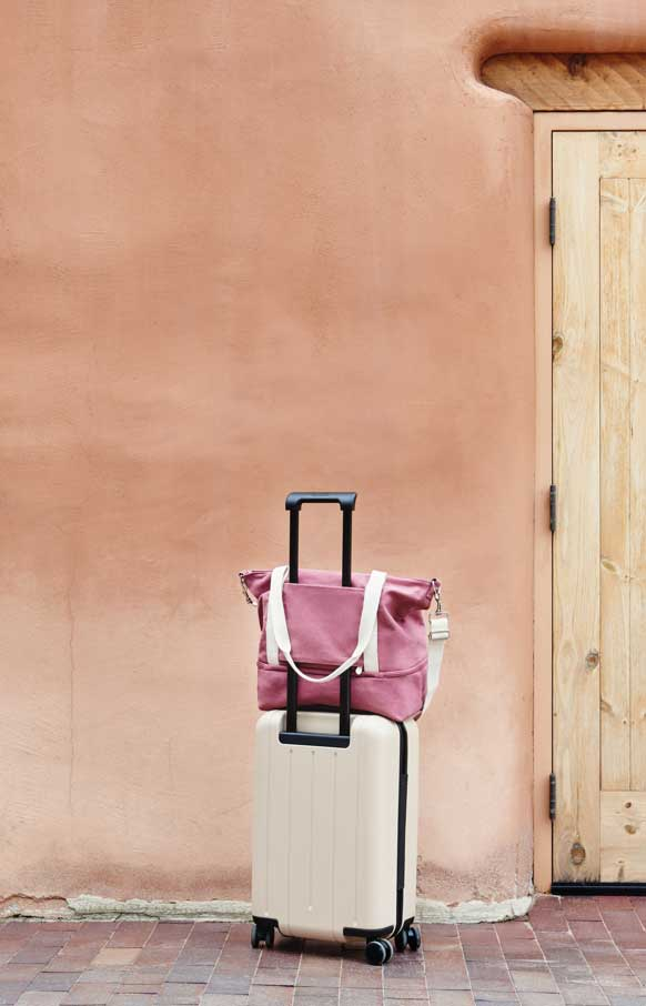 catalina in rose on luggage