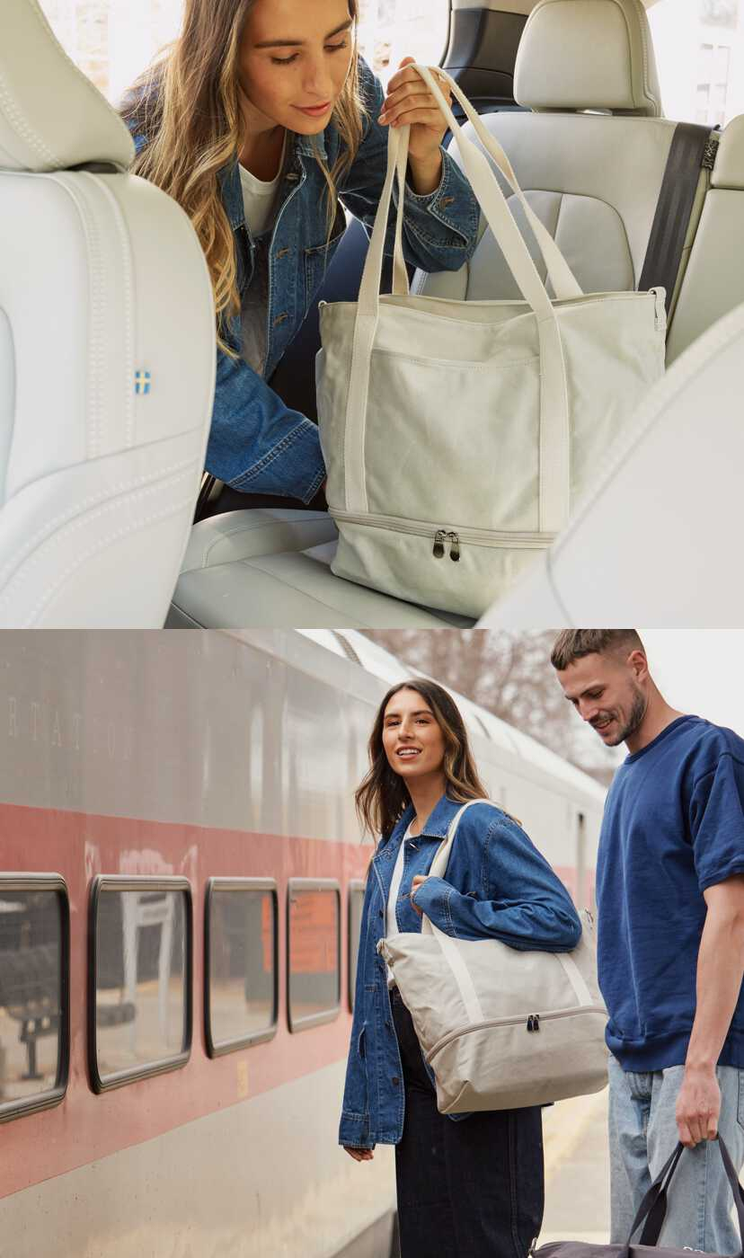 man and woman traveling with Catalina Deluxe Tote