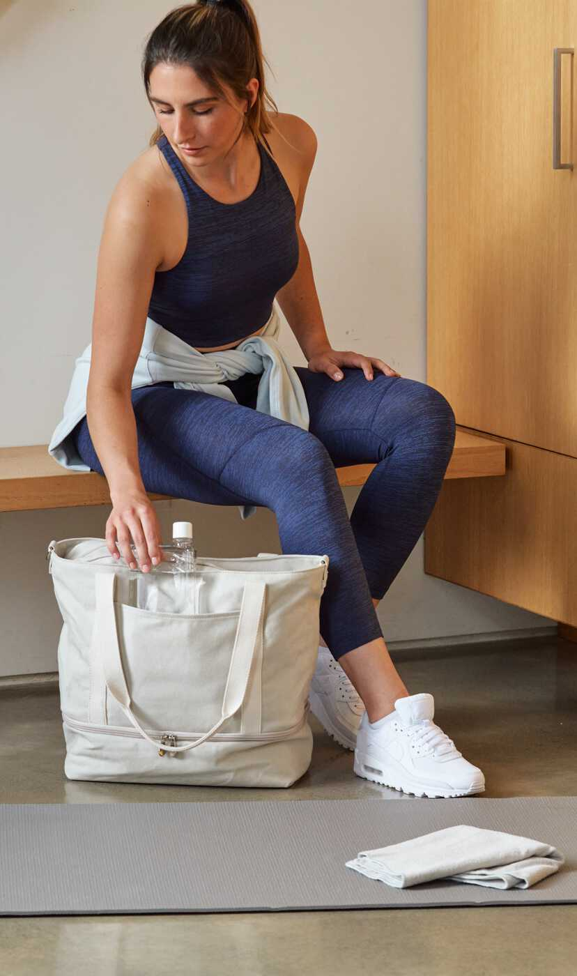 woman at gym the Catalina Deluxe Tote
