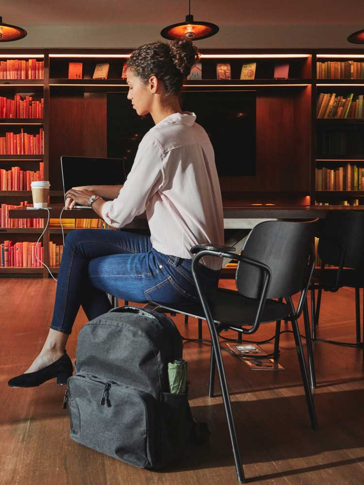 woman working at library