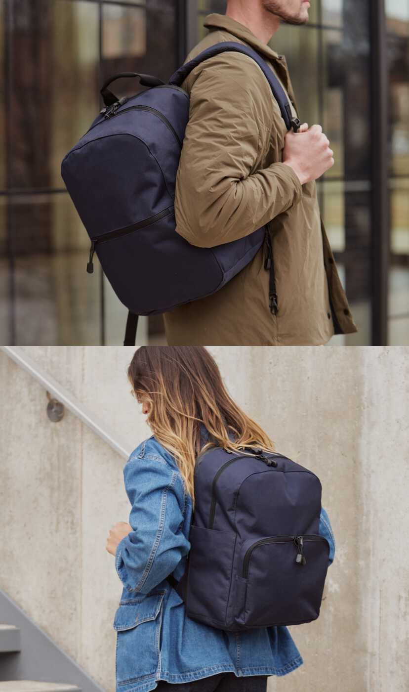 man and woman wearing hanover backpacks