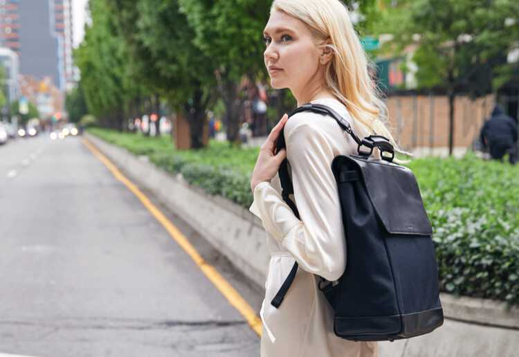 woman wearing Prospect with one strap