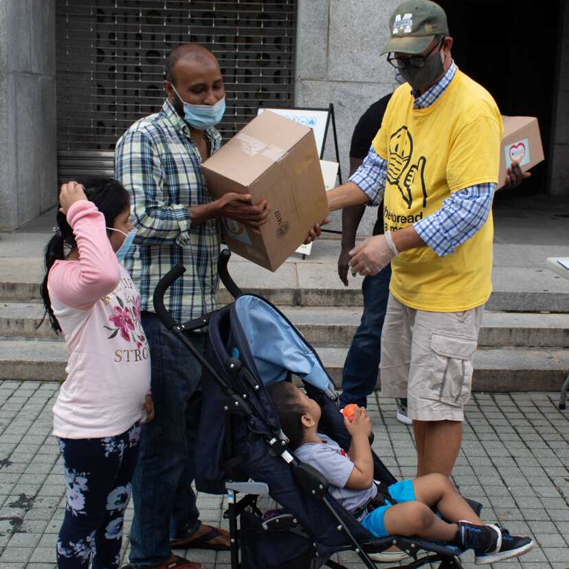 family receiving care package