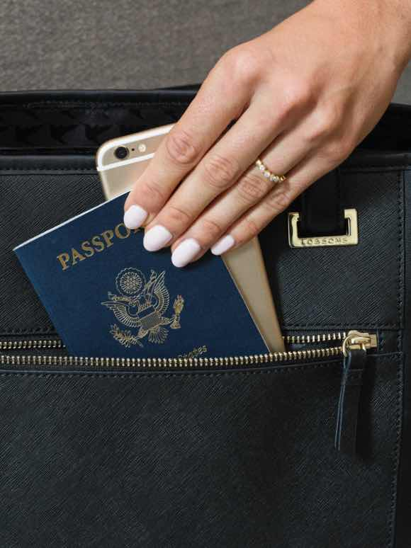 passport and phone placed in exterior pocket