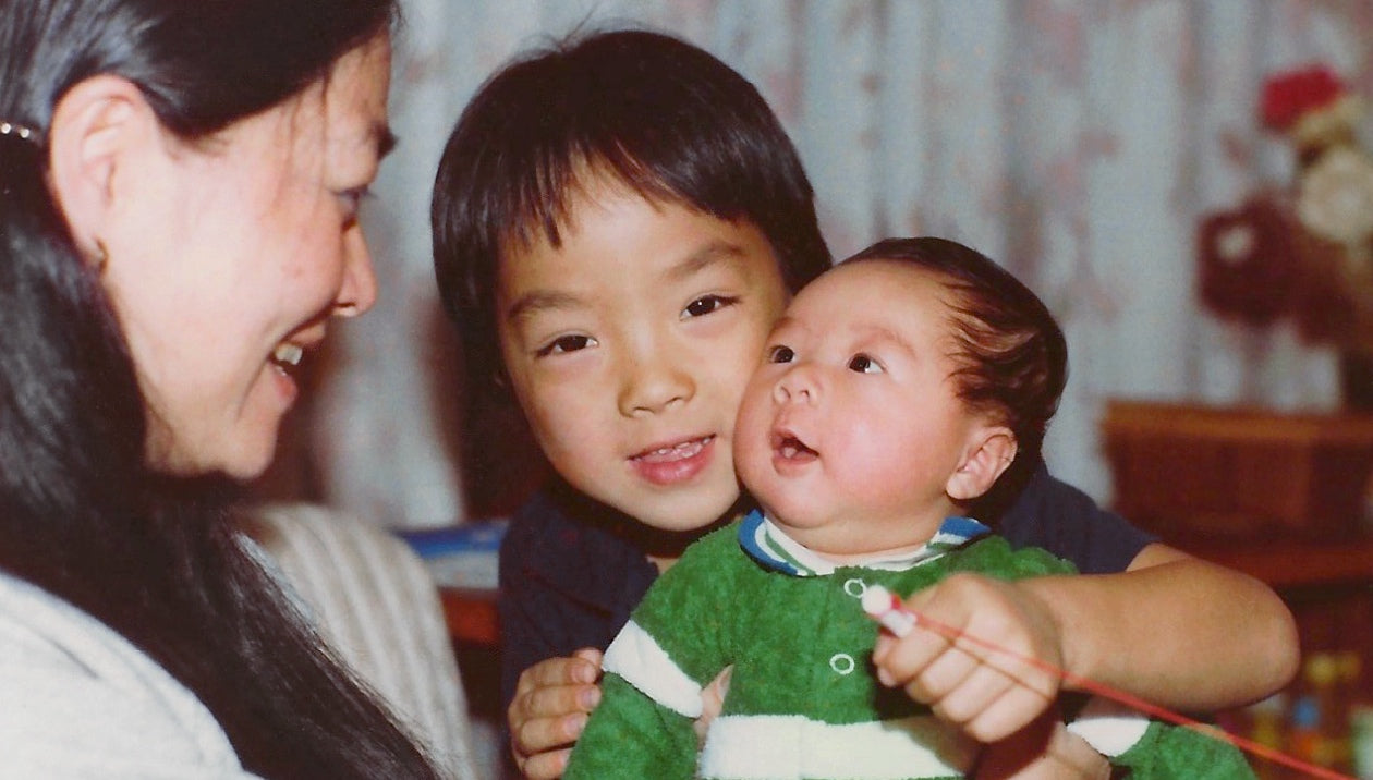 Helen Lo with Jan and Derek as children